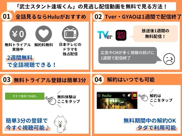 武士スタント逢坂くんの見逃し配信動画を無料で視聴する方法